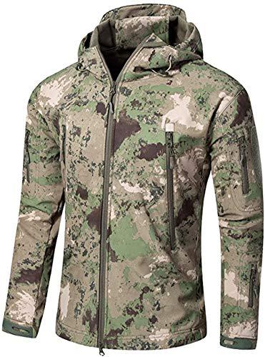 OLOEY Herren Tactical Softshell Fleecejacke Camouflage Military Hoodie Herbst Winter Outdoor Fleecejacke Wasserdicht Winddicht Warme Kapuze Wandern Skijacke Jagdmantel (Camo Army Green,L)