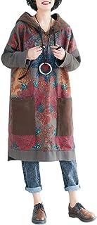 YuanDian Donna Autunno Invernali Vestiti in Felpa Maglia Lunga con Cappuccio Abito in Maglia Letteratura Artistico Stile r...