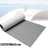 Foammaker EVA Foam Faux Teak Non-Slip Marine Mat, Boat Yacht Flooring Synthetic Teak Decking Pad (35in x 94in Grey with Black Seam Lines)