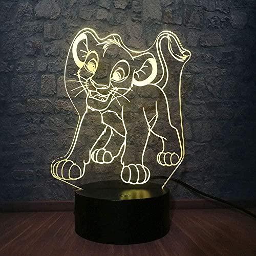 Dibujos animados Simba Lion King Luz de noche 3D Luz de ilusión LED 7 Cambio de color USB Decoración del hogar Juguete de cumpleaños Regalo 3-12 años Niños y niñas