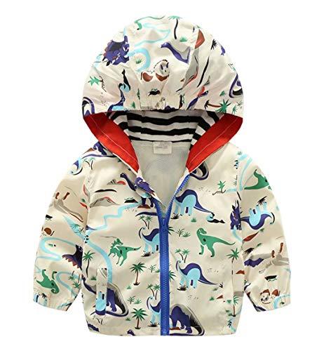 Baby Boys Cute Dinosaur Zipper Lightweight Hooded Windbreaker Jacket Casual Hoodie, Beige, Size 2T = Tag 100