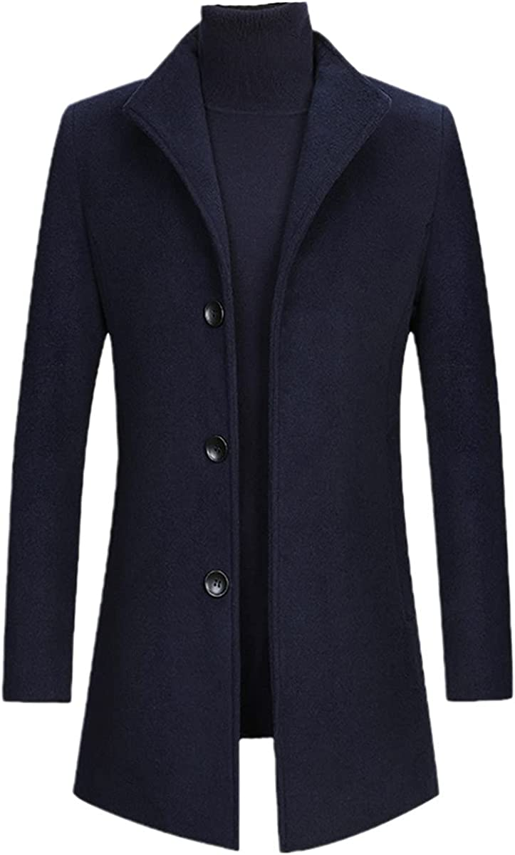 Autumn And Winter Men's Wool Coat Blended Thick Business Stand-Up Collar Long-Sleeved Trench Coat