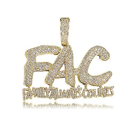 Fantex Iced Out FAC-Family Always cuenta un colgante único, lleno de pavimentación brillante CZ laboratorio, chapado en oro, joyería para hombres y mujeres