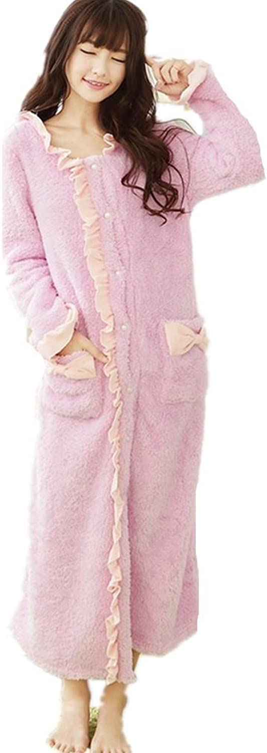 DMMSS Ladies Nightgown Nightdress Warm Coral Fleece Long Sleeve Pyjamas In Autumn And Winter Clothing Dress