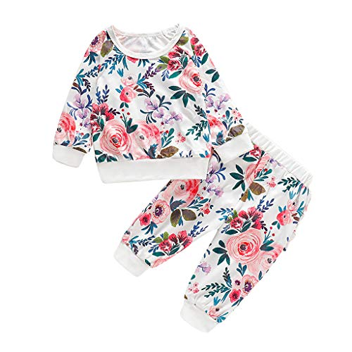 Säuglingsbaby Lange Hülsen Blumendruck T Shirt Oberseiten + Rüschen Hosen Ausstattungen