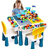 OCATO Kids Activity Table Toddlers Kids Table and Chair Set with 152Pcs Large Marble Run Building Blocks All-in-One Kids Play Table Water Table Sand Table, STEM Toys for Boys Girls 2 3 4 5-10 Year Old