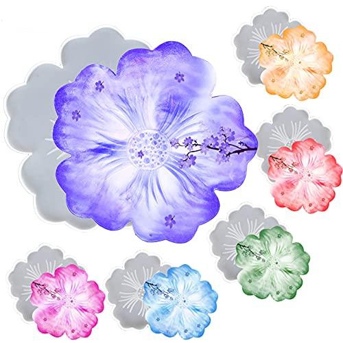PTCOME 6 Pcs Moldes para Posavasos de Silicona Moldes Resina Epoxi con Forma de Flor Molde de Silicona de Posavasos Irregular Moldes de Flores para Resina Molde de Resina Epoxi para Bandeja Ágata