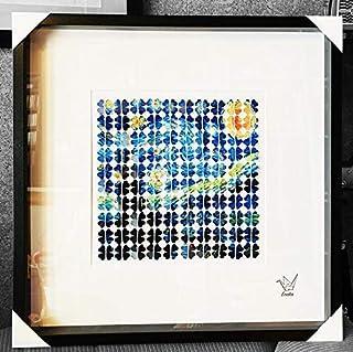 Cuadro Origami grullas, Van Gogh, la noche estrellada, The Starry night, Cuadro original Eneko Tapia