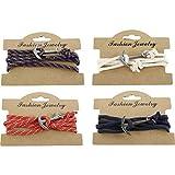 Pulsera de ancla de 52 cm con cadena enroscable para el cuello, cadena | joyas | regalo para hombres | mujeres | marítimo | mar | océano | agua | puerto | (rojo)