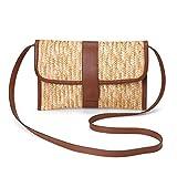 JOSEKO Bolso de hombro de mujer, bolso de hombro tejido de paja, adecuado para viajes junto al mar y uso diario (marrón)