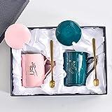 Tazze in ceramica, regali di nozze, regali a mano, set di scatole regalo, coppia tazze, un paio di tazze d'acqua con cucchiaio, tazza forte e durevole (rosa e verde)