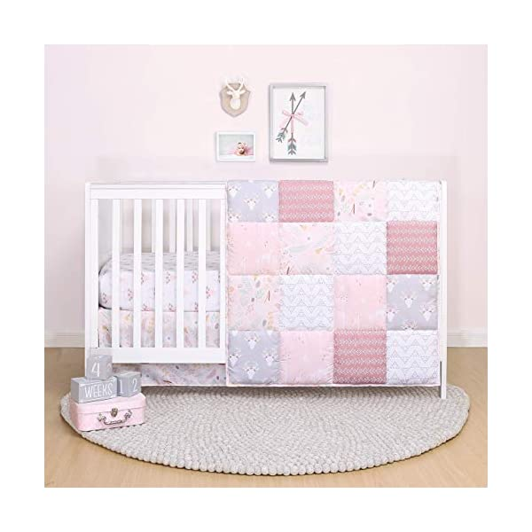 The Peanutshell Pink Floral Crib Bedding Set for Baby Girls – Quilt, Fitted Sheet, Dust Ruffle Included