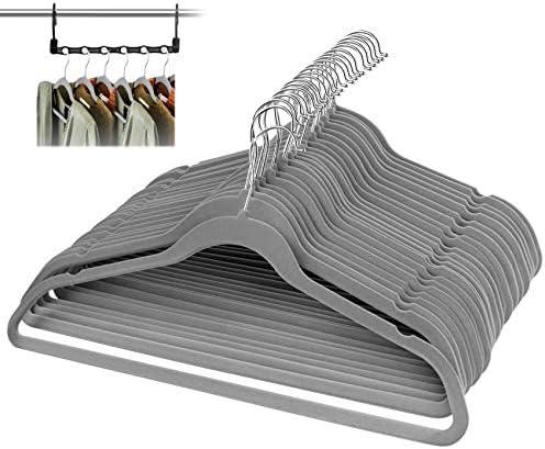 ilauke Kleerhangers van fluweel 50 stuks met magische kleerhangers ruimtebesparend 360 graden draaibare haak voor jassen mantels rokken overhemden broeken grijs