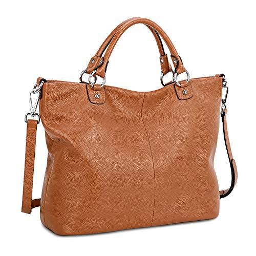 Kattee Genuine Soft Leather Handbag with 2 Detachable Straps, Top Handle Tote Hobo Handbag for Women, Stylish Purses, Women Leather Tote Bag, Shoulder Bag, Cross-body Bags for Ladies, Dark Brown,L