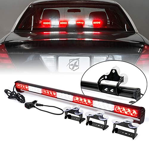 [Upgraded] Xprite 31.5 LED Emergency Traffic Advisor Strobe Light Bar w/13 Warning Flashing Patterns w/ Suction Cup Mount for Police Firefighter Ambulance Vehicles Trucks Cars JK SUV - White/ Red