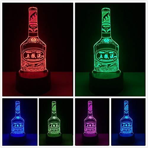 HNXDP Chinesische Berühmte Schnaps Wein WuLiangYe Flasche 7 Farbe Verdunkelung Gradienten Nachtlicht Nacht Schlaf Säufer Geburtstagsgeschenke