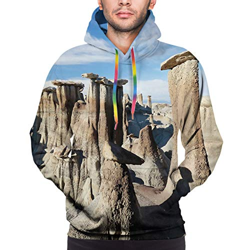 Men's Hoodies Sweatershirt, Scene of Bisti Badlands Rock Formations Tranquil Vibes Outdoorsy L
