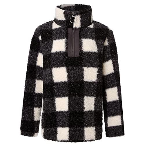 Suéter a Cuadros de Manga Larga para Mujer Otoño e Invierno Moda con Cremallera Tapeta Casual Street Trend All-Match Pullover Top L