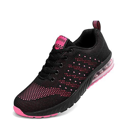 kashiwu Femmes Air Sports Chaussures de Course Choc Absorbant Trainer Courir Jogging Trainers Trainers Fitness Léger Chaussures(Black/Fuchsia.39EU