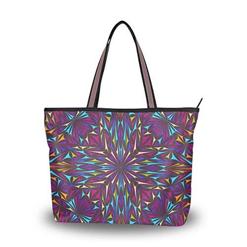 LORONA Damen Kaleidoskop Dreieck gebogen Leinwand Leinwand Handtasche Große Kapazität Einkaufstasche