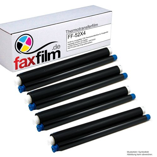 FAXFILM 4 x kompatibler TTR ersetzt Panasonic KX-FA52X KX-FC225 KX-FC226 KX-FC255 KX-FC258 KX-FP205 KX-FP207 KX-FP215 GS / KX FC 226 255 258