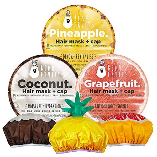 BearFruits Maschera e Cuffia per Capelli, Ananas, Detox e Rivitalizza + Cocco, Nutre e Idrata + Pompelmo, Antiossidante e Volumizzante, Idea Regalo