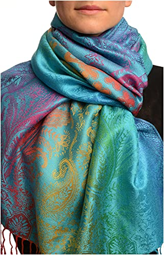 LissKiss LissKiss Large Ombre Paisley & Diamond On Dodger Blue Pashmina Feel With Tassels - Blau Scarf, Schal Einheitsgroesse (70cm x 180cm)