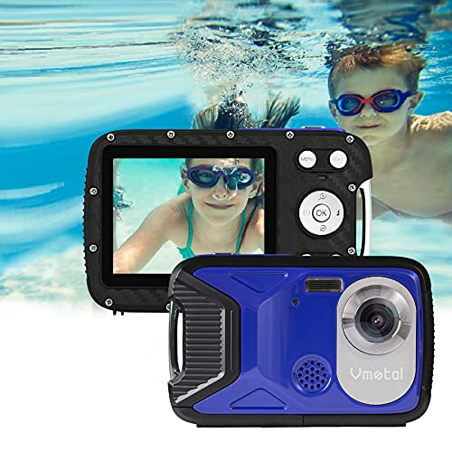 """Cámara Digital a Prueba de Agua GDC8026 / Zoom Digital de 8X / 16 MP / 1080P FHD/Pantalla LCD TFT de 2,8""""/ Cámara subacuática para niños/Adolescentes/Estudiantes/Principiantes/Los Ancianos (Azul)"""