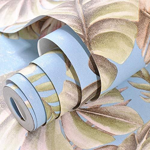 Jidan Blumen-und Vogel Flamingo Tropische Blätter Tapete Nusery Raum Schlafzimmer-Wand-Papier-Ausgangsdekor, Rosa, Teal, Grün (Color : A09805 Navy Blue, Dimensions : 10mx53cm)