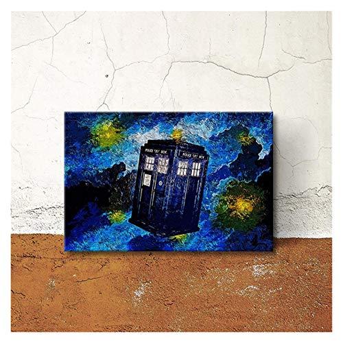 WQHLSH Cartel de lona abstracta del teléfono de la cabina de la pared de la pared de la pared Pintura de la pared Pintura de la pared Decoración de dormitorio sin marco 50x70cm Sin Marco