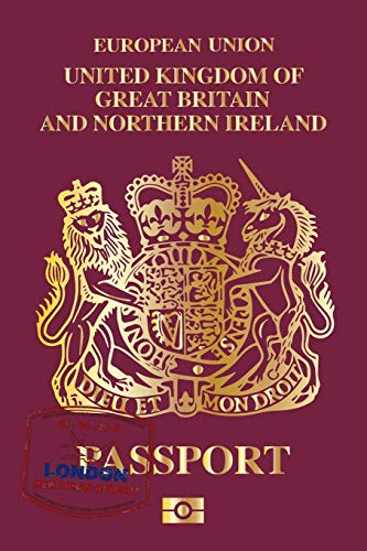 EUROPEAN UNION UNITED KINGDOM OF GREAT BRITAIN AND NORTHERN IRELAND PASSPORT TRAVEL DAIRY DOT GRID STYLE: 6x9 inch (similar A5 format) notebook daily ... todo lists perfect birthday present idea