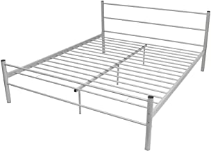 vidaXL Bed Frame Solid Construction Powder Coated Finish Scratch Resistant Bedroom Furniture Simple Industrial Style Tough...