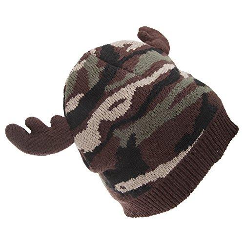 Floso - Bonnet Style Camouflage avec Imitation Bois de Renne - Homme (Taille Unique) (Marron)