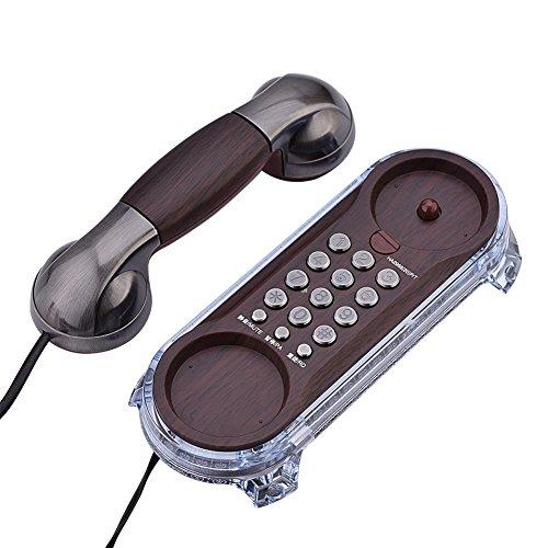 FZYE Teléfono Vintage, Montado en la Pared/Escritorio Estilo Retro Cable con Cable Línea Fija clásica Teléfono Fijo con Mesa Teléfono Fijo, Configuración de Tono de Llamada/Marcació