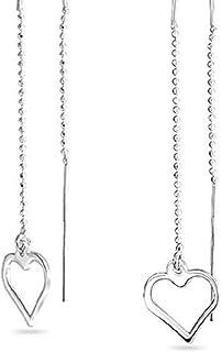 i&D Jewelry Threader Earrings 925 Sterling Silver Heart Earrings Long Chain Linear Link Dangle Earrings Drop Earrings for Women