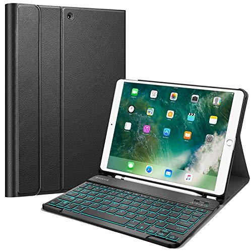 Fintie Funda para teclado con soporte para lápiz para iPad Air 3 10.5 2019/iPad Pro 10.5' 2017- funda delgada con teclado Bluetooth inalámbrico magnéticamente desmontable [7 colores de retroiluminación], Negro
