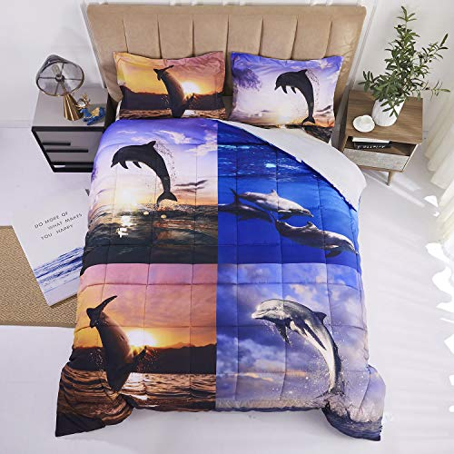 HIG 3D Bedding Set 3 Piece Queen Size Sea Dolphin Animal Print Comforter Set with Two Matching Pillow Covers -Box Stitched Quilted Duvet -General for Men and Women Especially for Children (S1,Queen)