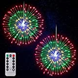 Firework Lights LED String Lights Fairy Decorative Twinkle Starburst Lights with Remote Control for Patio Party Indoor Home Decoration, 2 Pack (Multicolor)