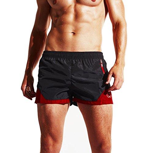 Surenow Costume da Bagno Uomo Pantaloncini da Spiaggia Nuoto Mare a Vita Bassa Nero