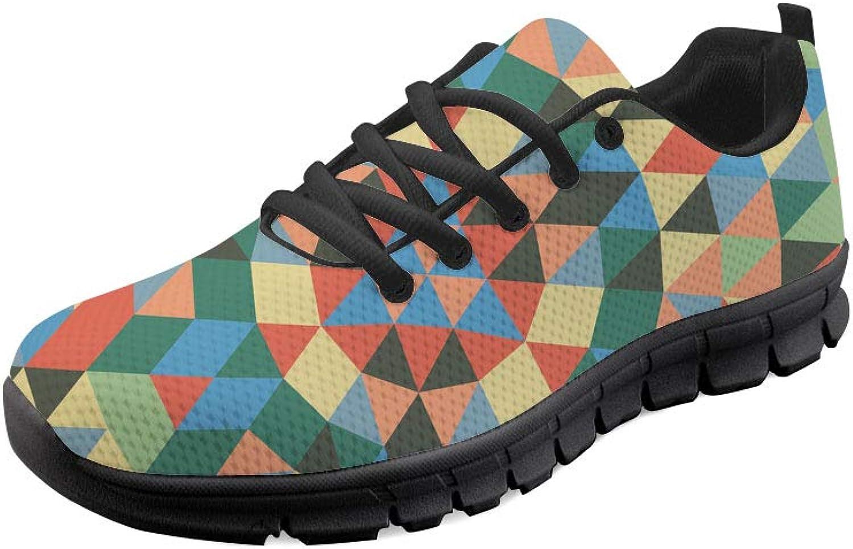 HUGS IDEA Fashion Lightweight Running Sneakers Abstract Geometry Design Walking shoes for Men Women