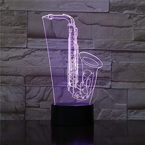 3D illusie lampen saxofoon 7 kleuren LED nachtlampje touch-schakelaar USB gebruik tafellamp kinderen bedlampje kerstcadeau verjaardagscadeau