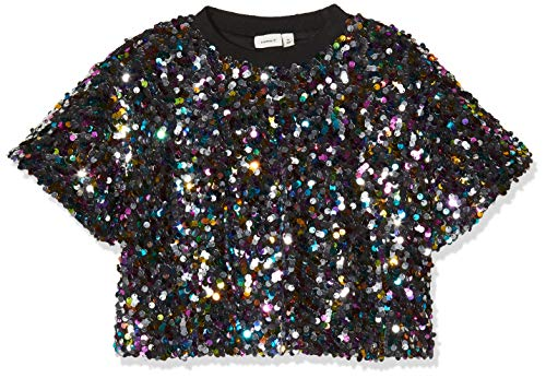 NAME IT Mädchen NKFSUSSO SS Short Oversize Top, Mehrfarbig (Black Black), 134/140 (Herstellergröße: 134-140)