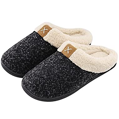 Women's Comfort Memory Foam Slippers Wool-Like Plush Fleece Lined House Shoes w/Indoor, Outdoor Anti-Skid Rubber Sole (Large/9-10 B(M) US, Space Black)