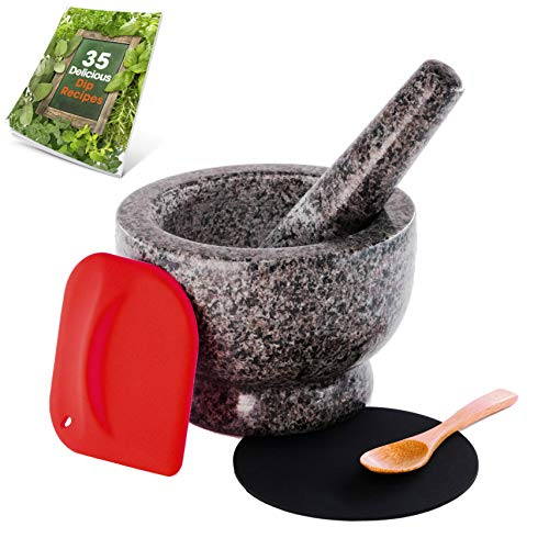 Granite Mortar and Pestle Set  Molcajete  Guacamole Bowl With Polished Exterior Stylish Grey Grinder And Crusher  WITH Silicone Mat amp Scraper