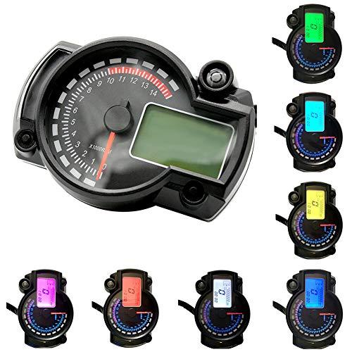 HYWOT LCD-Digital-Tachometer, Tachometer Einstellbare Odometer für 2/4 Zylinder Motorrad, Spur Getriebeöl Meter mit LED-Scheinwerfer Blinkeranzeige 182,Schwarz