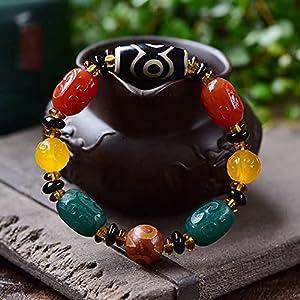 ZHIRCEKE Tibetisches dreiäugiges DZI-Multi-Treasure-Armband, etwa 13/18mm groß