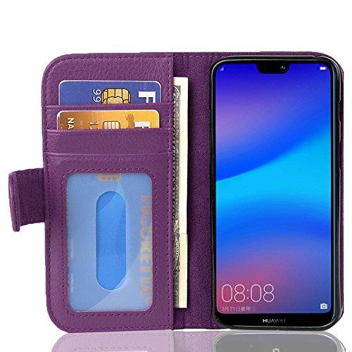 Cadorabo Funda Libro para Huawei P20 Lite en Burdeos Violeta - Cubierta Proteccíon con Cierre Magnético e 3 Tarjeteros - Etui Case Cover Carcasa