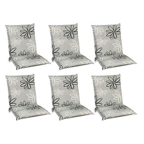 Beautissu Set de 6 Cojines para sillas de Exterior y jardín