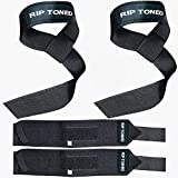 Rip Toned Lifting Straps + 18-inch Wrist Wraps Bundle (1 Pair of Each) for Weightlifting, Xfit, Workout, Gym, Powerlifting, Bodybuilding
