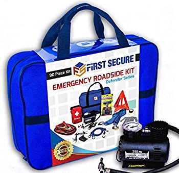 FS Car Emergency Safety Kit Bag with Portable Air Compressor First Aid Kit Heavy Duty Roadside Auto Emergency Kits Jumper Cables Tow Strap Tire Pressure Gauge Headlamp for Women Men Teen